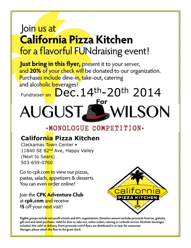 August Wilson Monologue Competition California Pizza Kitchen Fundraiser Red Door Project